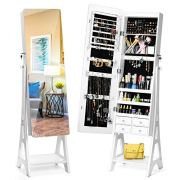 TWING Jewelry Cabinet Armoire Free Standing Jewelry Armoire with Full Mirror