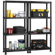 VonHaus 4 Tier Garage Shelving Unit with Wall Brackets (Pack of 2)