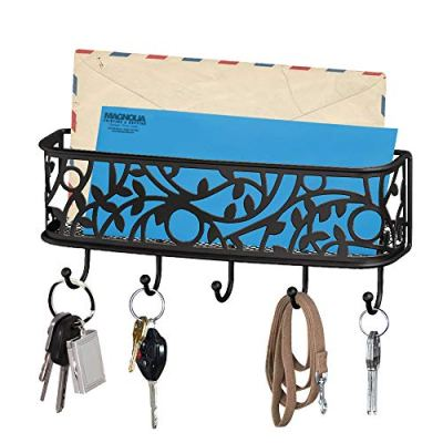 Key Hooks for Wall with Mail Holder and Organizer by My Tidy Family - Metal Basket with Hanging Hooks for organizing Keys Mail Sunglasses Cell Phone Lipstick Lanyards Wallets and Other Accessories