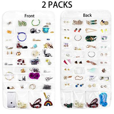 BSTC 2PCS Hanging Jewelry Organizer, Jewelry Organizer Double Sided Jewelry Travel Organizer Display Holder, 144 Pockets Over The Door Jewelry Organizer for Earrings Necklace Bracelet Ring