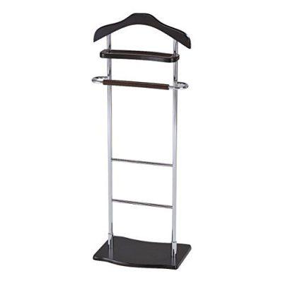 Pilaster Designs - Chrome / Walnut Finish Wood & Metal Suit Valet Rack Stand