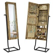 SRIWATANA Jewelry Armoire Cabinet, Solid Wood Standing Jewelry Organizer