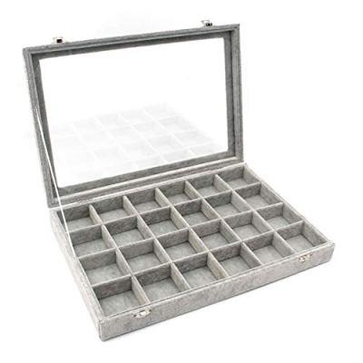 KLOUD City Jewelry Box Organizer Display Storage case(Gray-24 Grid)