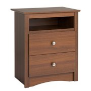 Prepac Sonoma 2 Drawer Nightstand, Warm Cherry