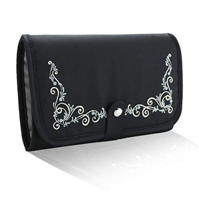 Lekesky Travel Jewelry Organizer Foldable Jewelry Roll Bag for Necklaces, Bracelets, Earrings, Bracelets -Black