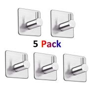 LOOGI Adhesive Hooks Towel Hooks Wall Door Hanger Heavy Duty Stainless Steel