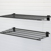 Flow Wall FSS-MB2412-2B Metal Bracket Shelf, Black, 2-Pack
