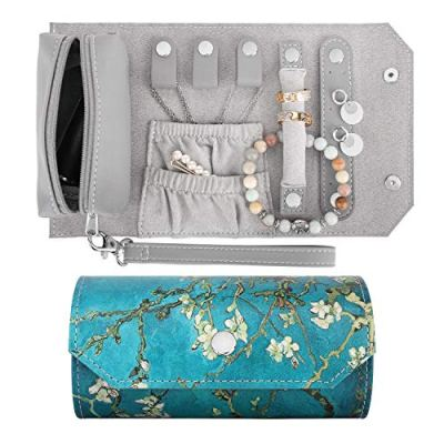 Emibele Small Travel Jewelry Roll Bag Organizer, Smart Size PU Leather Jewelry Roll Bag with Portable Pouch for Ring Earring Necklace Bracelet, Daily Jewelry Carrying - Almond Blossom