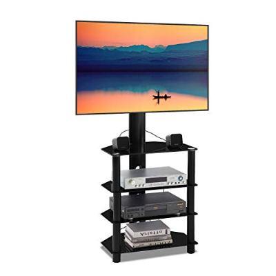 BBEN 4-Tiers Media Component Floor TV Stand with Swivel Mount Audio Shelf