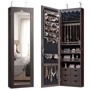 CHARMAID 5 LEDs Mirror Jewelry Armoire Wall Door Mounted, Lockable Jewelry Cabinet with 6 Drawers and Full Length Mirror, Large Capacity Jewelry Organizer Storage Jewelry Box with Drawers (Brown)