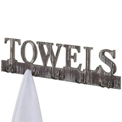 MyGift Torched Wood 5 Dual-Hook Towel Hanging Rack