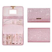 bagsmart Travel Jewelry Organizer Foldable Glitter Bling Jewelry Roll for Journey-Rings, Necklaces, Bracelets, Earrings, Wallet Style, Pink