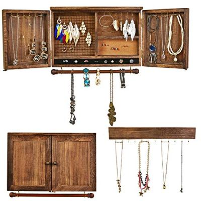 Jewelry Organizer with Wooden Barndoor Décor,Wall Mounted Wood Hanging Jewelry Holder with Bracelet Rod and Hook Organizer for Necklaces, Earrings, Bracelets, Ring Holder, and Accessories(Browvn)