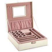 goldwheat Two-Layer Leather Jewelry Box Decorative Organizer Display Storage Case Tray with Lock and Key,White