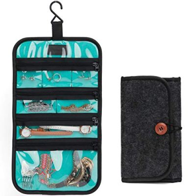 PACMAXI Travel Jewelry Organizer Roll for Necklace, Earrings, Rings, Bracelets, Hanging Jewelry Bag with Zippered Compartments