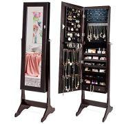 Best Choice Products 6-Tier Standing Mirror Lockable Storage Organizer Cabinet Armoire w/LED Lights - Espresso