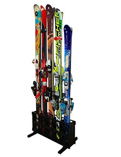 StoreYourBoard Ski Storage Rack | Freestanding 5 Pair Skis Floor Rack