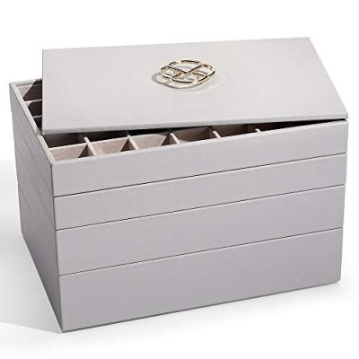 Vlando Miller Jewelry Trays Stackable Showcase Display Drawer Organizer Storage Multi-Purpose,Multiple Combinations, Large Capacity Multi-Layer Design and Fashion(Grey)