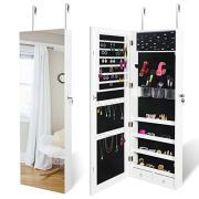 """SUPER DEAL Upgraded 2in1 Jewelry Cabinet 47.3"""" H Wall/Door Mounted Jewelry Armoire with 6 Shelves 2 Drawers Jewelry Organizer with Full Length Mirror"""
