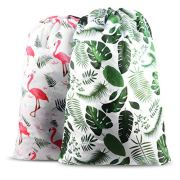 """Nidoul 2 Pack Extra Large Laundry Bag, Heavy Duty Travel Laundry Bag, Drawstring Closure Dirty Clothes Bag, Durable Rip-Stop Bag for Camp Dorm, Machine Washable 24"""" x 36"""""""