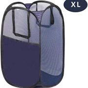 GANAMODA Mesh Laundry PopUp Hamper - Foldable Pop-Up Mesh Hamper with Reinforced Carry Handles, Collapsible for Storage and Easy to Open, Portable XL Blue