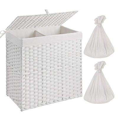 Greenstell Handwoven Laundry Hamper with 2 Removable Liner Bag,Synthetic Rattan Laundry Basket with Lid and Handles,Foldable and Easy to Install White(Larger Size