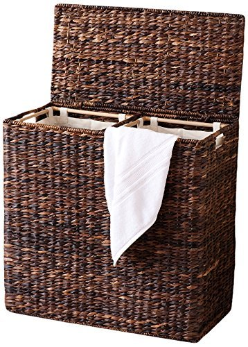 BirdRock Home Oversized Divided Hamper with Liners (Espresso) - Made of Natural Woven Abaca Fiber - Organize Laundry - Cut-Out Handles for Easy Transport - Includes 2 Machine Washable Canvas Liners