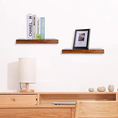 HOOBRO Floating Shelves, Rustic Brown Wall Shelf Set of 2, 15.7 inch