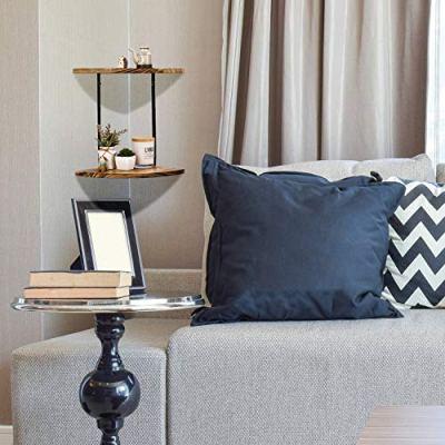 NEX 2-Tier Corner Shelf Floating Wall Mount Round End Shelves for Living Room