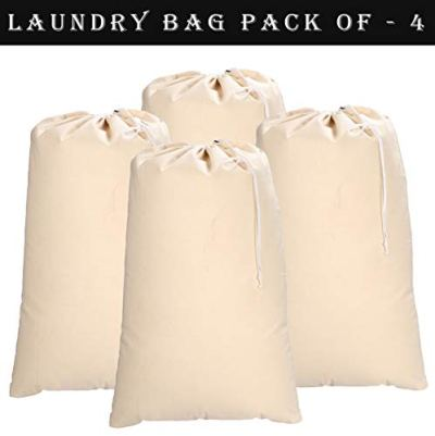 Ramanta Home Heavy Duety Laundry Bag,Canvas Laundry Bags,Cotton Laundry Bag with Drwstrings, Easy to Carry,Washable Laundry Bag,Santa Bag,Laundry Hamper Bags 24x36 inch -Natural (Set of 4 Pieces)