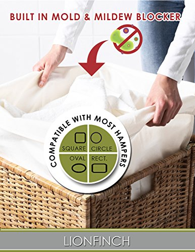 """4 Count Laundry Hamper Liners- BLOCKS Mold and Mildew. Extra Large 40"""" Tall x 30"""" Wide. Bright White Super Soft Canvas. Fits 5 Loads of Laundry. Easy to Wash and Dry. Proudly Made in California!"""