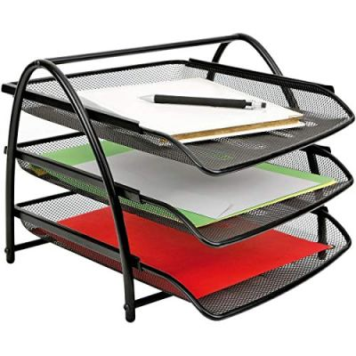 CAVEEN 3 Trays Desktop Document Letter Tray Organizer Metal Mesh File Holder
