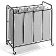 JustRoomy Mobile 4-Bag Classics Laundry Hamper Sorter Clothes Storage Cart Laundry Organizer Basket with Heavy Duty Rolling Lockable Wheels Casters Tall Handles, Silver Gray