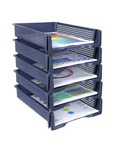 Zilpoo 5 Tier - Plastic Desk Letter Organizer Trays, Stackable Office Desktop
