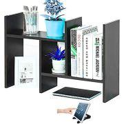 Office Desktop Bookshelf Adjustable Wood Display Shelf Desktop Organizer Office