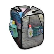 Smart Design Pop-Up Laundry Hamper w/Divider, Zipper, Portable Handles
