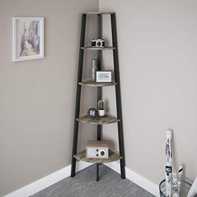 Ballucci Industrial Corner Shelf, 5-Tier Ladder Bookcase, Storage Rack