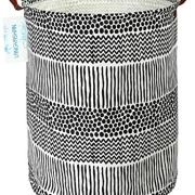 LANGYASHAN Storage Bin,Canvas Fabric Collapsible Organizer Basket for Laundry Hamper,Toy Bins,Gift Baskets, Bedroom, Clothes,Baby Nursery (Black line)