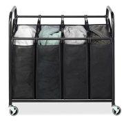 Whitmor Heavy-Duty Laundry Sorter Storage with Lockable Caster Wheels