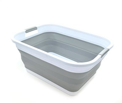 SAMMART Collapsible Plastic Laundry Basket - Foldable Pop Up Storage Container