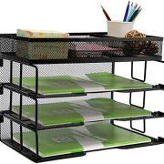 Reliatronic Mesh Office Desk Organizer, Stackable File Letter Tray Organizer