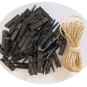 DurReus Wood Clothespins to Hang Photos School Projects 2 Inch Clothes Clips with Jute Twine Black Pack 50