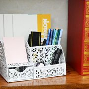 EasyPAG Office Metal Desk Organizer 6 Compartments + Drawer Mixed Pattern