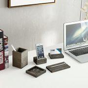 Vintage Gray Wood 5-Piece Desk Set with Pen Tray, Pencil Cup