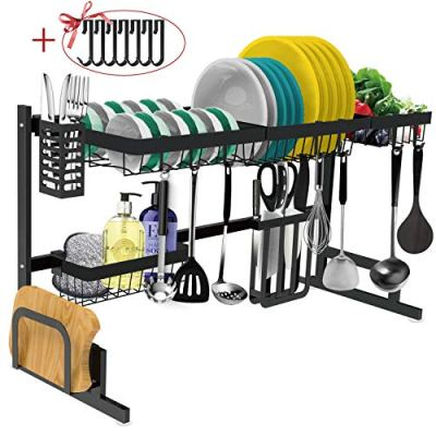 Dish Drying Rack Over the Sink -Adjustable Large Dish Rack Drainer for Kitchen Organizer Storage Space Saver Shelf Utensils Holder with 7 Utility Hooks Dish Rack Over Sink (32≤ Sink Size ≤ 39inch)