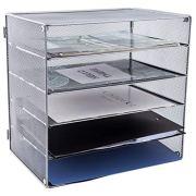 EASEPRES 5 Slot Desk Organizer Tray, Mesh File Paper Letter Tray Desktop Paper