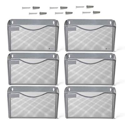 Kinwell 6 Pack Office Hanging Mesh Letter-Size Wall File Holder Organizer