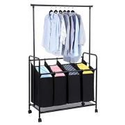 "JKRED Heavy-Duty Trolley Type 4-Bag Rolling Laundry Sorter with Detachable Hanging Bar Lockable Universal Wheel Clothing Storage Sorter Cart, 42.5"" x 17.7"" x 66.9"", Fastest Shipping from USA"