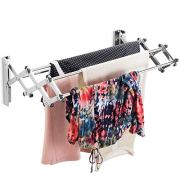 Bartnelli Accordion Wall Mounted Drying Rack | 5 Smooth Round Stainless Steel Rods | 11 Linear Feet Capacity | Compact Sleek Design | 45 lb Capacity
