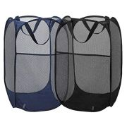 2 Packs Mesh Pop up Laundry Hamper (Black/ Navy Blue) with Portable, Durable Handles, Collapsible for Storage, Folding Pop-Up Clothes Hampers for Kids Room, College Dorm or Travel